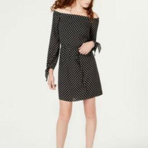 Maison Jules Off Shoulder Dress Black Polka Dot
